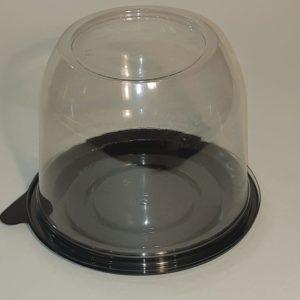 купольная коробочка для пирожного торта мыла. упаковка прозрачная крышка черное дно диаметр 123 мм