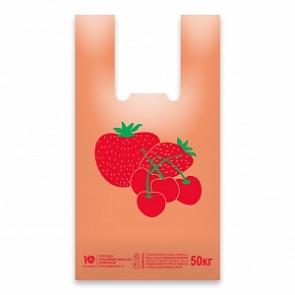 """Пакет """"майка"""" ЯГОДА 30+16х55 (18мкм). Чаще всего применяется в магазинах для продажи покупателю. Цена: 1.15 руб."""