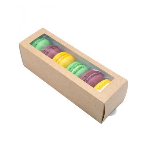 Крафт коробка для макароун ECO UniBox 180х55х55. Эко коробка ECO UniBox для упаковки печенья и макароун с размерами 180х55х55мм.