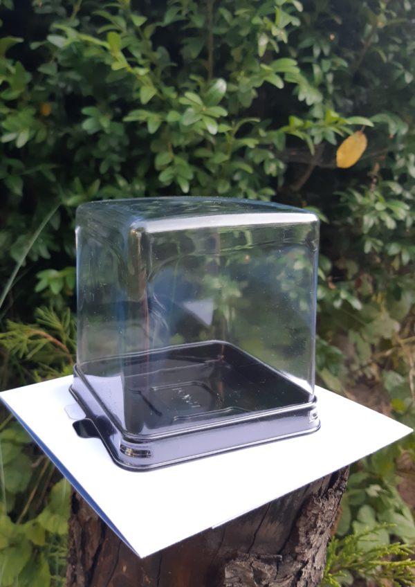 квадратная коробочка для мыла с высокой крышкой прозрачная крышка дно черное