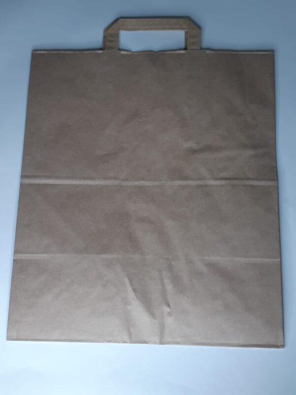 бумажный крафт пакет с петлефой ручкой для упаковки овощей фруктов игрушек 320х200х320мм