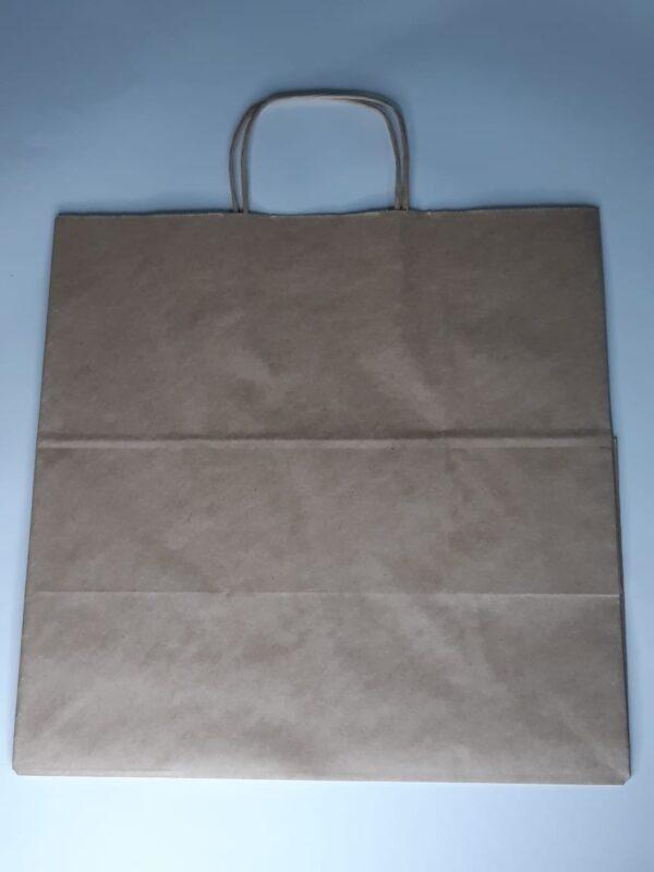 одноразовый бумажный крафт пакет с плоским дном крученными ручками 230х200х350мм