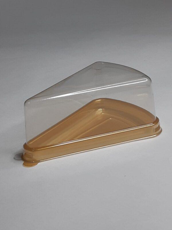 треугольный контейнер с низкой крышкой под кусочек торта, чизкейка, золотое дно LP-T-62